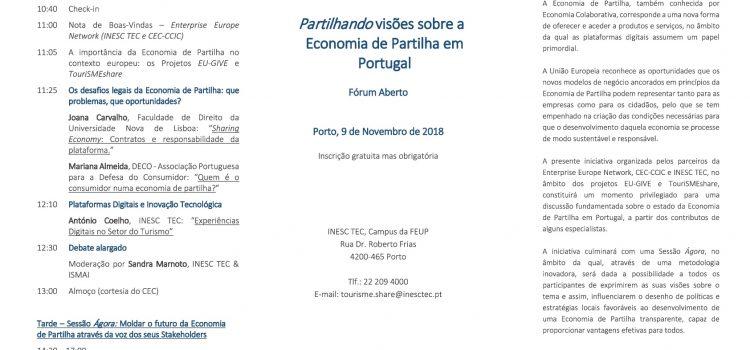 Partilhando Visões sobre a Economia de Partilha em Portugal – Forum Aberto, 9 de Novembro, Porto